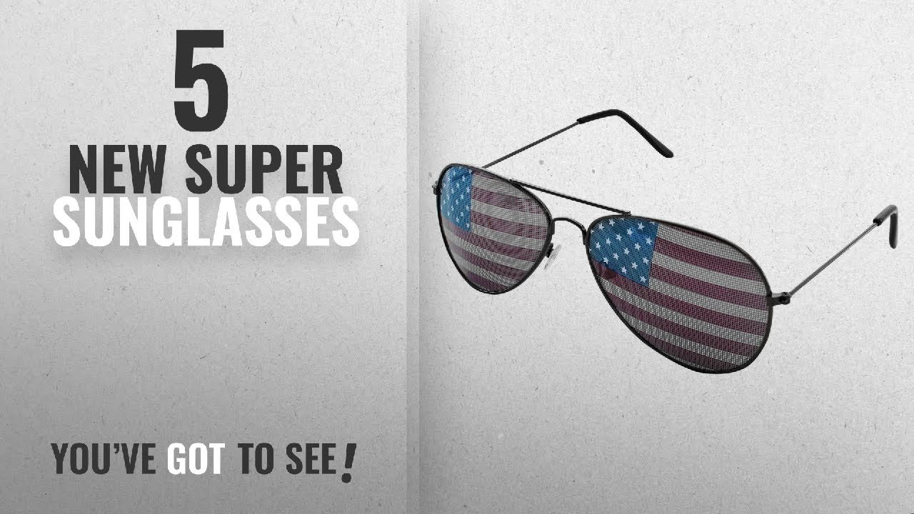 a9488857f986 Top 10 Super Sunglasses   Winter 2018    American USA Flag Design Metal  Frame Aviator Unisex