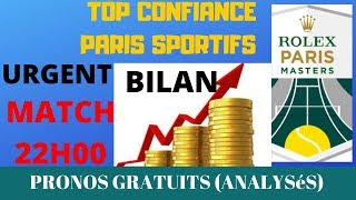 PARIS SPORTIFS : PRONO TENNIS HOMME TOP CONFIANCE PARIS MASTER BASE STATISTIQUE
