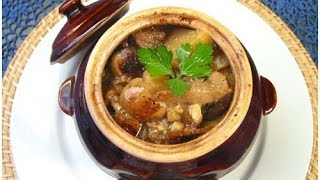 Мясо c грибами в горшочках в духовке