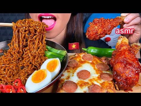 asmr-eating-spicy-black-bean-noodles-cheesy-sausage-pizza-&-spicy-fried-chicken-먹방-real-sounds