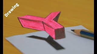 How to Draw Floating Letter Y   3D Trick Art on Paper Floating letter Y