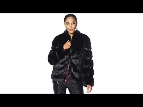 Joan Boyce Faux Fur Jacket with Sequins. http://bit.ly/327kbRO