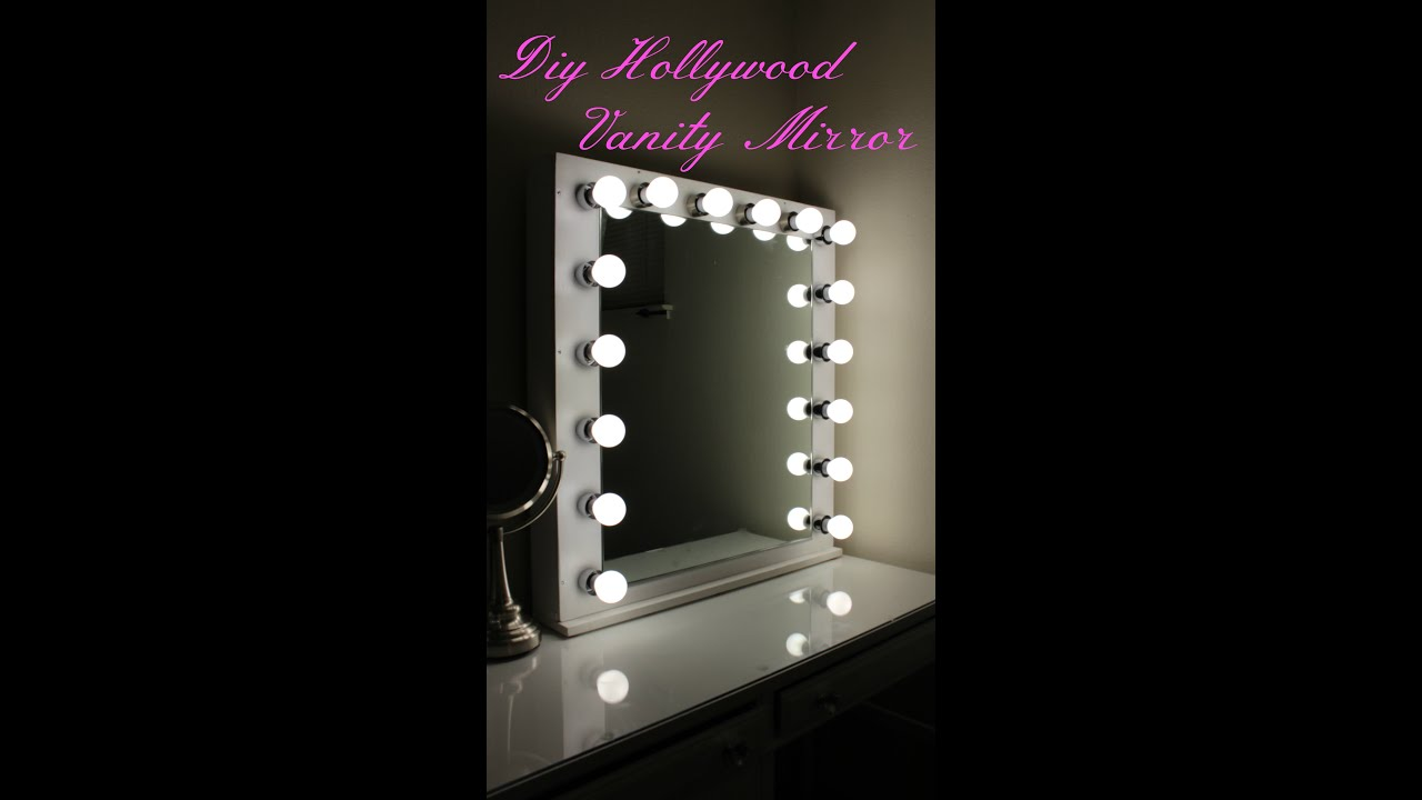 diy hollywood vanity mirror with lights youtube. Black Bedroom Furniture Sets. Home Design Ideas