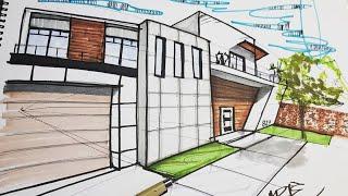 Dibujo de una casa usando 2 puntos de fuga para la perspectiva   Arte Orta