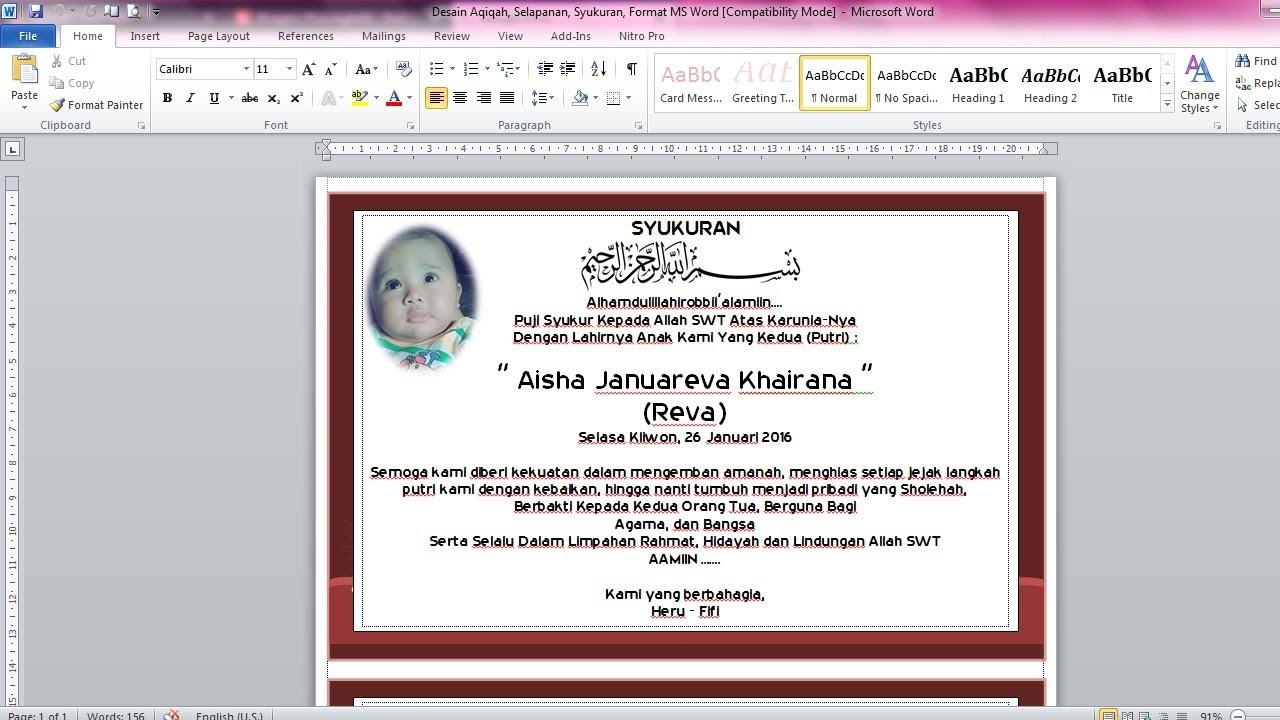Cara Membuat Undangan Untuk Aqiqah Selapanan Dan Syukuran Di Ms