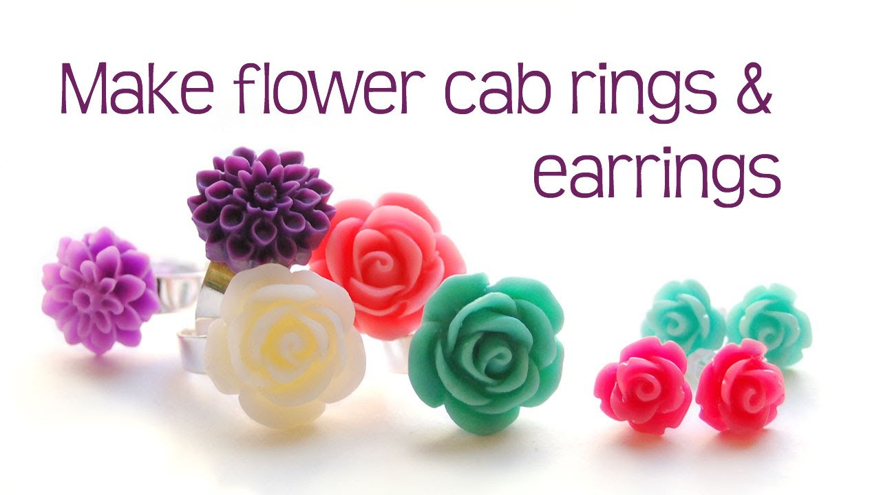 Flower cab rings and rose earring tutorial - jewelry making - YouTube