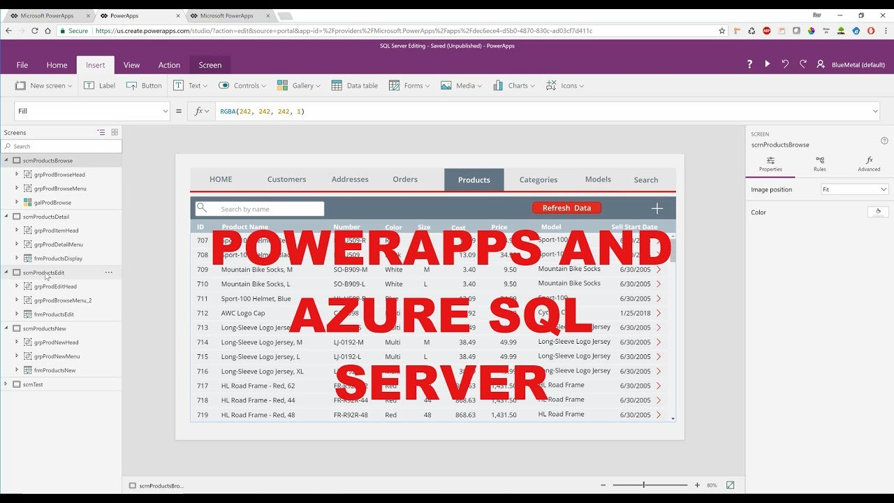 PowerApps Does Azure SQL Server!