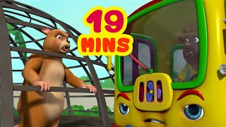 The Wheels On The Bus Goes Round And Round - Zoo Town | Rhymes and Baby Songs | Infobells