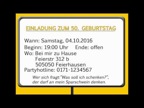 einladungen geburtstag youtube. Black Bedroom Furniture Sets. Home Design Ideas