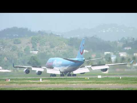 Boeing 747 LANDING, TAXING and TAKE OFF | Fort-de-France