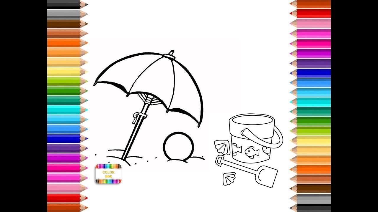Colorear sombrilla y cubo de la playa, verano con muchos colores ...