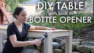 DIY Table with Built-In Bottle Opener and Cap Catcher🍺