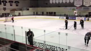 Boston Bruins Chara practicing slap shots #3