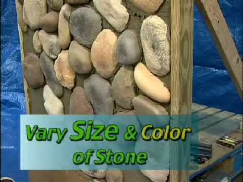 Trilite stone river stone installation youtube for Laying river rock