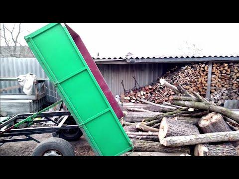 Мотоблок в работе с ПРИЦЕПОМ САМОСВАЛОМ. Перевозка дров. Самосвальный прицеп в работе.
