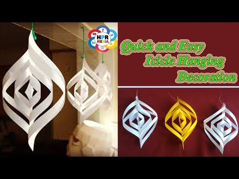 Paper Craft | Easy and Quick Hanging Icicle Decoration Video By HPR Media