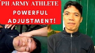 ARMY ATHLETE RECEIVING POWERFUL CHIROPRACTIC ADJUSTMENT BY PHILIPPINES CHIROPRACTOR DR. KIM KHAUV