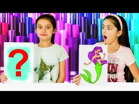 3 MARKER CHALLENGE! SIS vs SIS 😄 DISNEY Princess Ariel, Minions, Boss Baby -NEW EDITION!