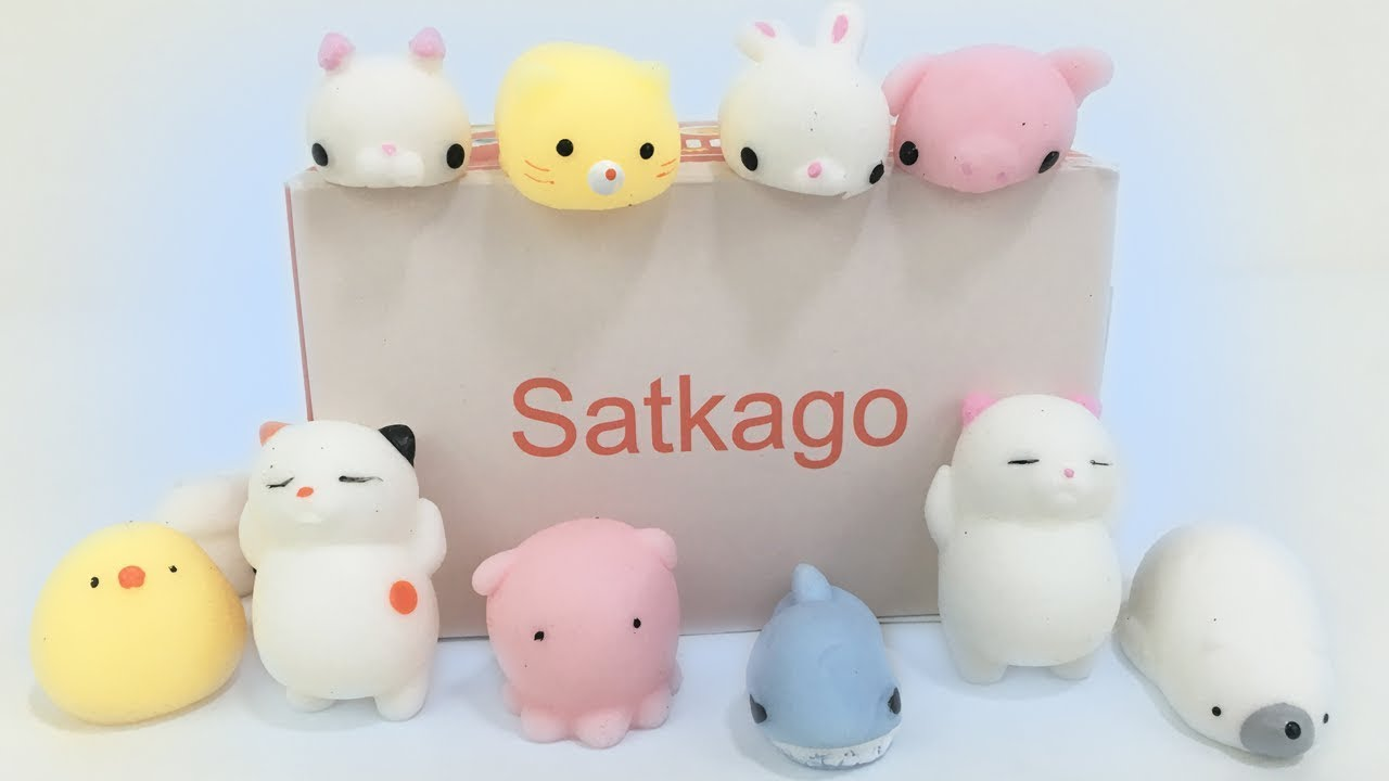 Squishy Toys Review : Squishy Toys Satkago Squishies 20 pcs animals set Kids Toy Review Jelly Frog Toys - YouTube