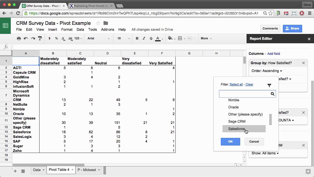 Google Sheets Create Pivot Tables And Charts Youtube