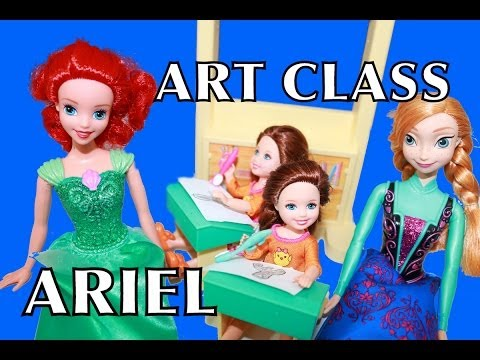 Barbie School ART CLASS with Ariel The Little Mermaid Disney