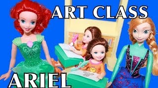 ART CLASS with Ariel The Little Mermaid Disney Frozen Barbie Anna Family School AllToyCollector