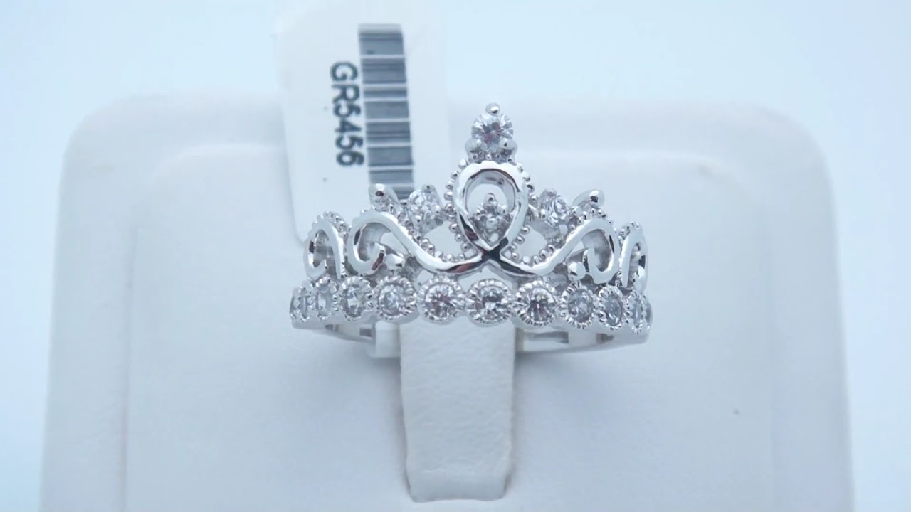 925 Sterling Silver Crown Ring / Princess Ring - YouTube