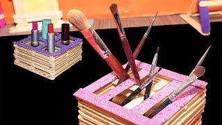 DIY Makeup Brush Holder - Makeup Brush Storage with Popsicle Sticks