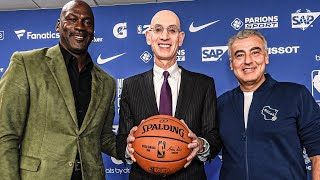 Michael Jordan, Adam Silver & Marc Lasry NBA Paris Press Conference