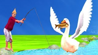 Swan Helping Fisherman Story For Kids - Hindi Moral Stories For Children | 3D Animation