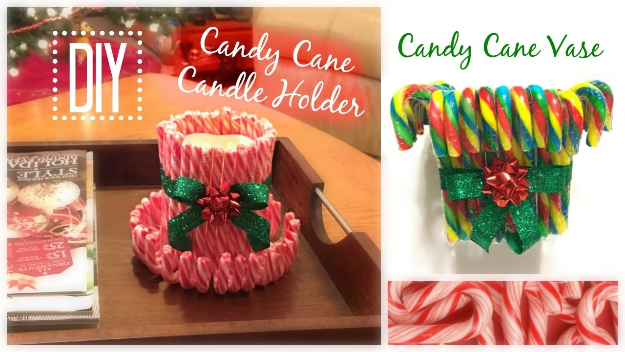 Diy candy cane candle holder and vase dollar tree youtube for Candy cane holder candle centerpiece