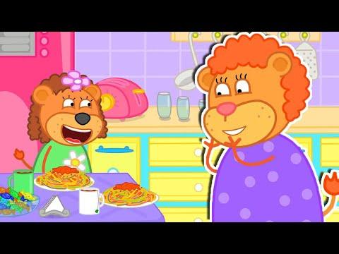 Lion Family 🍒 Tasty Pasta | Cartoon for Kids |
