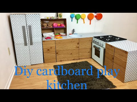Diy cardboard kids play kitchen part 1/5