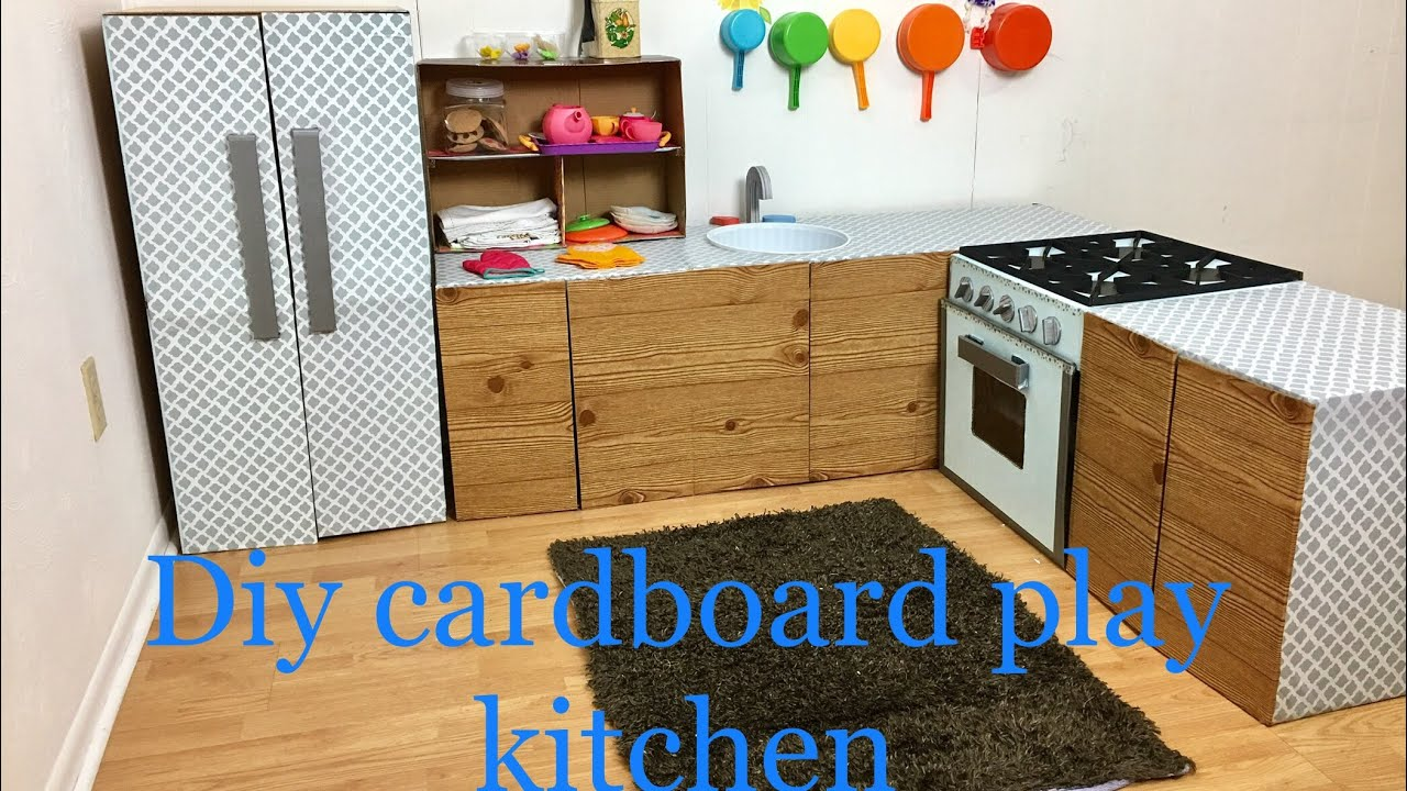 How To Make Cardboard Kids Play Kitchen Part 1 5 Youtube