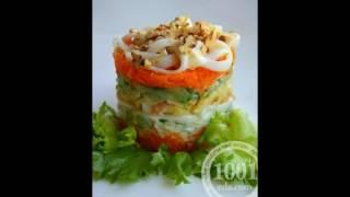 Рецепт салата с консервированными кальмарами и морковью
