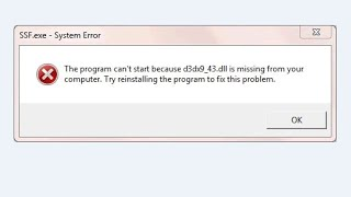 """How to Fix """"d3dx9_43.dll is missing"""" error"""