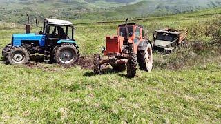 Трактор Т 40 и Трактор Беларусь 1221 Сможетьли вытащить застрявший Грузовик Урал из грязи?