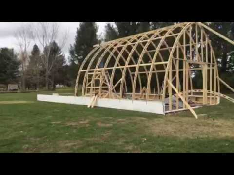 Bow roof Boat shed with Gothic arch truss time lapse part ...