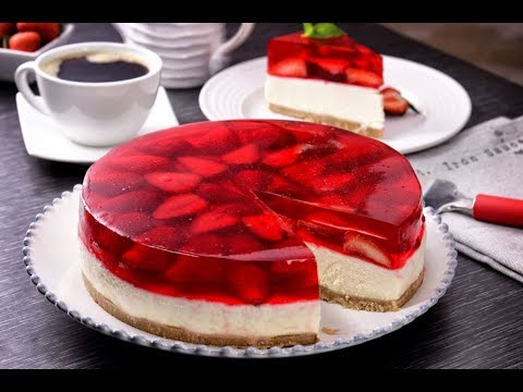 Pastel De Gelatina Y Fresa Con Cheesecake Sin Horno Youtube