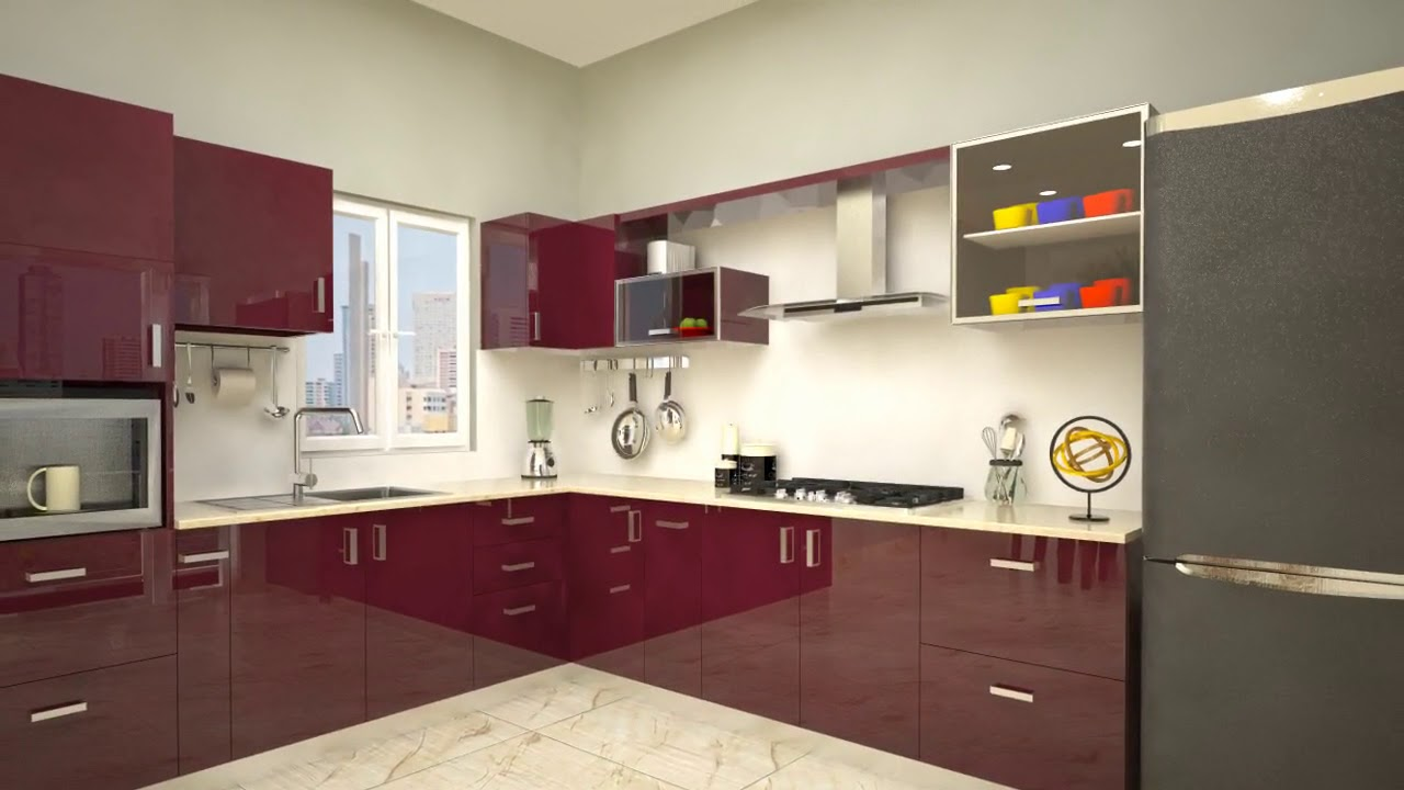 Open Modular Kitchen With Open Shelves Designs