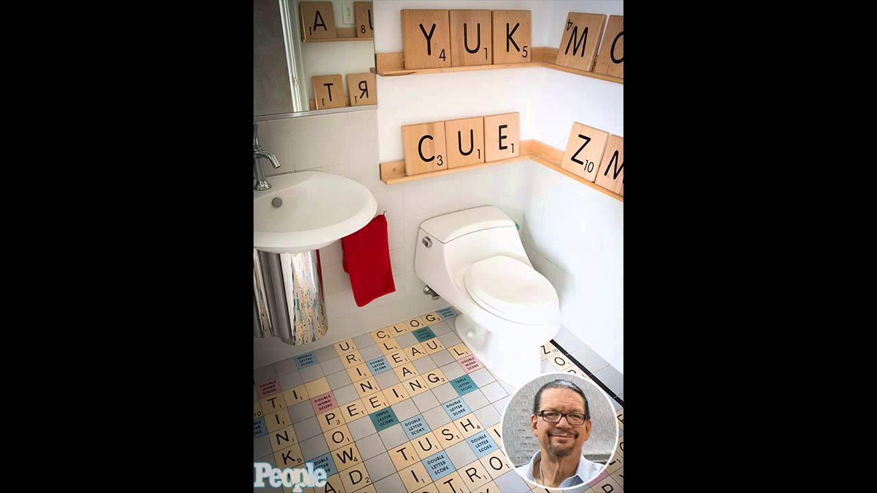 You Have To See The Scrabble Floor In Penn Jillette S Bathroom Photos