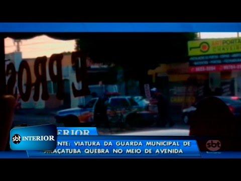 Flagrante: viatura da Guarda Municipal de Araçatuba quebra no meio de avenida