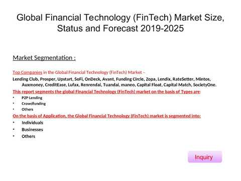 Financial Technology FinTech Market Size, Status and Global Outlook 2019 to  2025