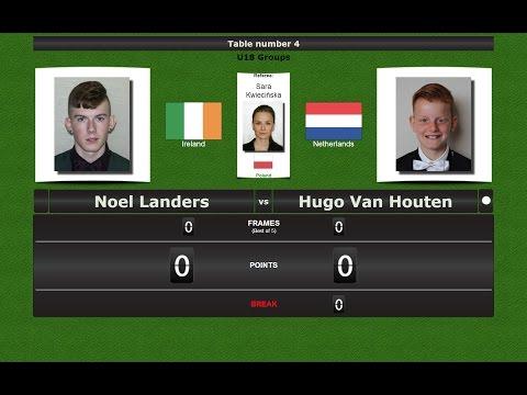 Snooker U18 Groups : Noel Landers vs Hugo Van Houten