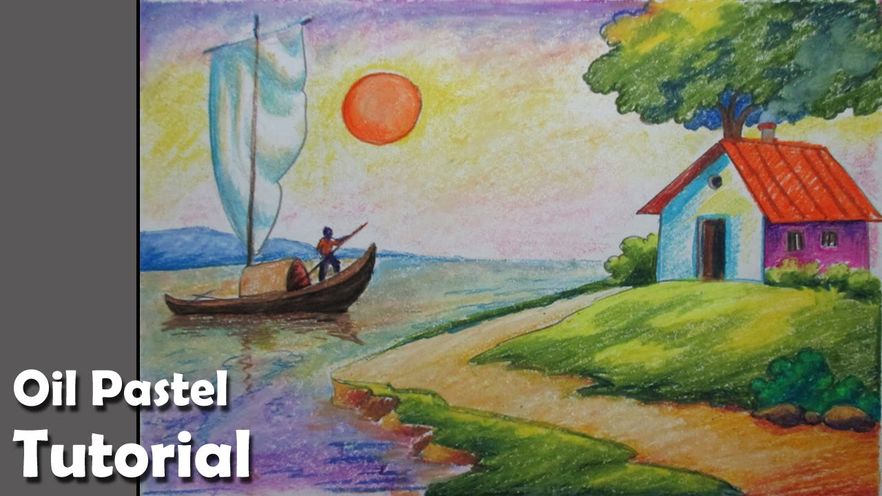 How to draw a riverside landscape with oil pastels for Fish scenery drawing
