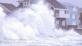 Scituate, MA Extreme Waves Crashing Into Homes & Storm Surge - 1/24/2017