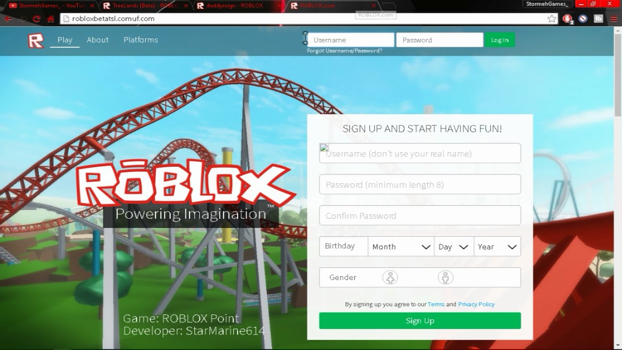 Roblox Sign Up Robux Log In Free Robux Youtube
