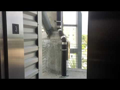AWESOME OTIS Gen2 MRL Traction Side Elevator @ Bob Hope Airport Car Rental Garage, Burbank, CA