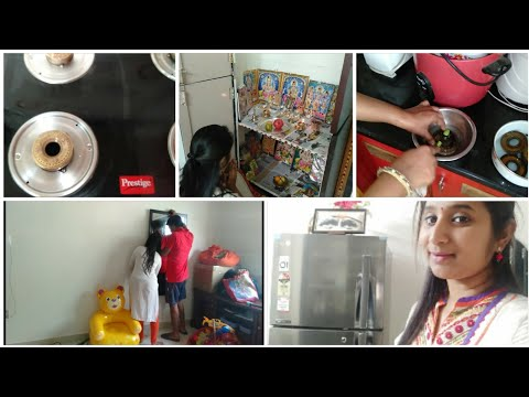 Cleaning and Organizing with Hubby || New Refrigerator || How I clean Stove Burners || 1st Pooja