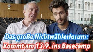 Kommt zum Nichtwählerforum: Am 13.9. im Basecamp (mit Chebli & Ströbele)